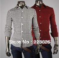 Free shipping 2013 new for shirt men the grid style 2 color men's shirts fashion long sleeve shirt Drop Shipping