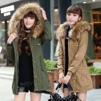 New style women winter coat fashion women's jackets warm hooded winter women's fashion winter women jacket coat khaki Army green