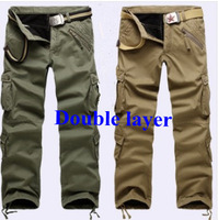 Winter Double Layer Men's Cargo Pants  Fleece Warm Outdoor Sports Baggy Cotton Trousers for men Color khaqi Army Green Black