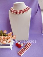 Free ship!!!new design fashion Luxury freshwater pearl jewelry set pearl coral weave necklace bracelet and earring set