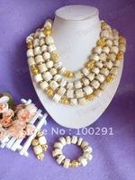 Free ship!!! Luxury!!!White Drum Four Row Fashion Wedding Coral Jewelry set