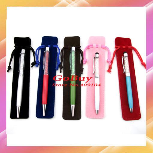 200pcs retail & wholesale 17cm Bule,Red,Black velvet bag for Crystal touch pen,Ballpoint pen,for PARKER,good quality(China (Mainland))