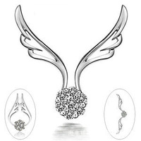 Free shipping, 2014  new wings of the angel three han edition silver crystal hanging drop method necklace sautoir