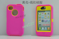 High Quality mixed color plastic + silicone shockproof protective hard case cover for iphone 4 /4S,50pcs /lot free shipping