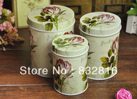 Pastoral Flower Round Iron Tinplate Sugar Snacks Tea Tin Box Gift Box 3pcs/lot Free Shipping!