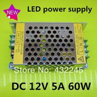 Free shipping+1pcs 60W 12V5A JUNKE Switching Power Supply, LED strip transformer 110V 220V, Metal case 12V 5A power supply.