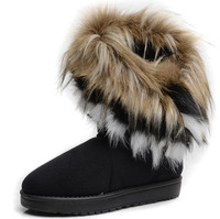 2013 Hot  Winter Waterproof Snow Boots Women  High Long  fox Rabbit Fur Winter Shoes  Fringed Leather Women's Shoe  6 -  9 Size