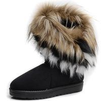 2014 Hot  Winter Waterproof Snow Boots Women  High Long  fox Rabbit Fur Winter Shoes  Fringed Leather Women's Shoe  6 -  9 Size