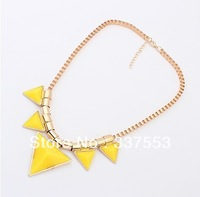 (Min order$8) Free Shipping!Europe Fashion Trend Candy Jewelry Punk Stereoscopic Triangle Collar Necklace Wholesale 3 Colours