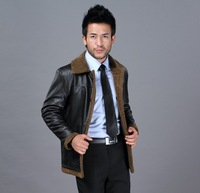 Male genuine leather clothing men's clothing genuine leather berber fleece turn-down collar fur one piece men's clothing Q1