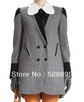 Free  shipping 2013 autumn and winter fashion slim double breasted houndstooth patchwork wool outerwear wool coat female