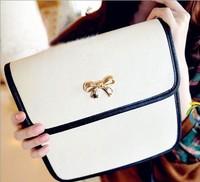 0715 Free shipping 2013 bags female black and white fashion vintage noble elegant women's handbag bow casual messenger bag