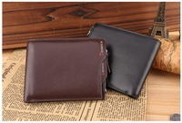 Free Shipping New Fashion Men Genuine Cow Leather Wallet Men's Designer Wallets Mens Brand Purse Horizontal Style 2 Colors