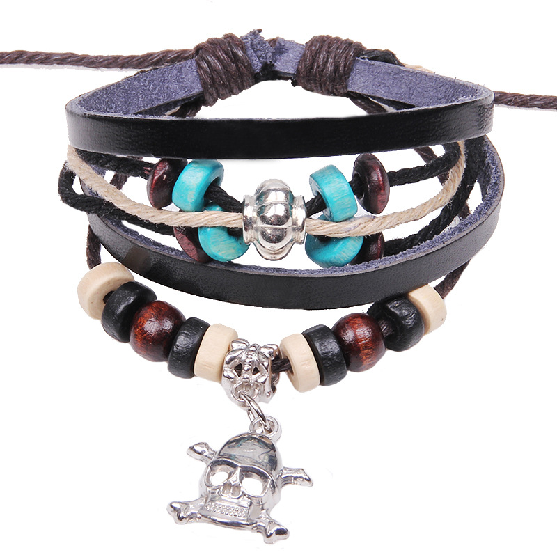 Free Shipping ! Punk skull beaded bracelet bangles jewelry vintage leather bracelets Caribbean-style Halloween gifts(China (Mainland))