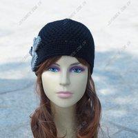 woman winter hat women caps winter female cap wholesale Flowers black hat gray wool  crochet hat free shipping