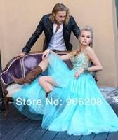 2014 New Style Blue Spaghetti Straps Free shipping A-line Empire Waist Beading Long Prom Dress vestido de festa Prom Dresses
