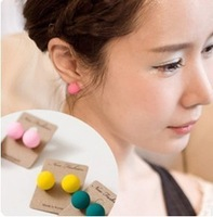 ES399   Hot New Fluorescent candy colored frosted ball stud earrings Jewelry Wholesales