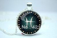 10pcs/lot Pisces Necklace, Zodiac Sign Pendant, Constellation Jewelry Glass Cabochon Necklace