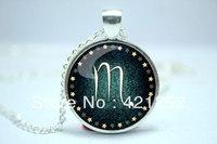 10pcs/lot Scorpio Necklace, Zodiac Sign Pendant, Constellation Jewelry Glass Cabochon Necklace