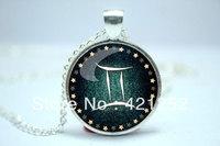 10pcs/lot Gemini Necklace, Zodiac Sign Pendant, Constellation Jewelry Glass Cabochon Necklace