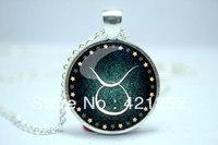10pcs/lot Taurus Necklace, Zodiac Sign Pendant, Constellation Jewelry Glass Cabochon Necklace