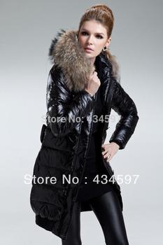 Новый зимняя куртка женская большой енота воротник пуховик утолщение куртка с длинными ...