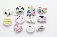 120pcs bible sister cheer graduation hockey baseball ghost autism mom rainbow heart floating charms for glass locket