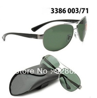 3386 classic sun glasses male sunglasses women's sunglasses dark green glass lens sunglasses