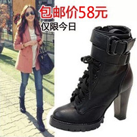 Autumn and winter fashion lacing thick high-heeled ankle boots motorcycle boots
