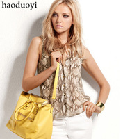 haoduoyi Fashion Snake Skin Pattern Chiffon Sleeveless Shirts Women For Autumn 2013 Stand Collar Design