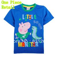 Free Shipping Nova Brand Kids Baby Boy Summer Peppa Pig Print Short Sleeve T shirt For Boys Children Clothing