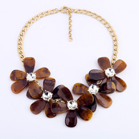 free shipping Top Quality of 2013 new design LUX Jewelry,old fashioned individual rusty brown big flowers statement necklace