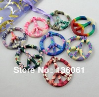 Fashion Jewelry Vintage 150PCS 29*31mm  Mixed Polymer Fimo Clay Peace Sign Charms Pendants Jewelry Findings Free Shipping Z2073