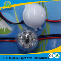 Energy Saving 100pcs/lot 30mm IP68 waterproof  rgb smd 5050 module dc12v ws2801 led pixel