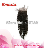 2013 new arrival 3.5x4 inch hair piece virgin remy brazilian curly with closure unprocessed human hair piece low price