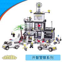 KAZI 6725 631pcs 3D Construction eductional Bricks Building Block Sets Police Stations Enlighten children toys Christmas Gifts