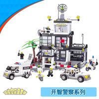 KAZI 6725 631pcs 3D Construction eductional Bricks Building Block Sets Police Stations Enlighten children toys Christmas Gifts