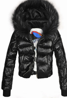 2013 Winter Sheep leather Jacket  Warm Coat Short Women Leather Parkas Fox fur Collar  Ladies' Down leather Coat with Fur Rim