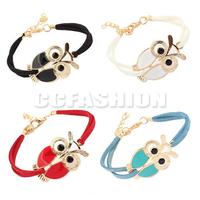 Free Shipping 2PCS/LOT Hot Womens Girls Fashion Retro Owl Decoration Faux Leather Bracelets 4Colors