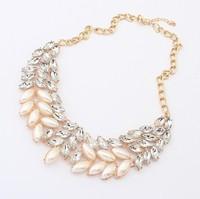 Bold Faux Stone Wreath Necklace Charm Faux Pearl Rhinestone Statement Choker Necklace New Fashion Jewelry  BJN900127