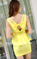 Big racerback sexy one-piece dress ladies V-neck slim waist slim bow slim hip  formal dress free shipping