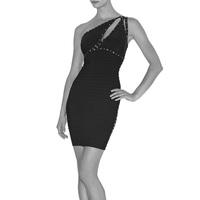2013 Noble Elegant High Quality Formal One shoulder Black Foil-Print HL Celebrity Party Dress Bandage Evening Dresses