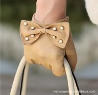 WARMEN [ Verma ] star with stylish bow Korean cute manicure sheepskin leather gloves