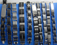 10pcs Men's Stainless Steel Bracelets 10 Styles Mixed Wristbands Wholesale Jewelry Lots