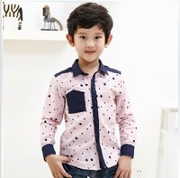 2013Children Korean casual dot shirt boys long sleeve cotton shirt collar
