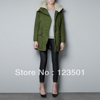 2013 new women's frock coat jacket and long sections thicker fur collar army green jacket
