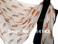 10pcs/lot Fashion Fox Animal Print Scarf Shawl Wrap Voile Polyester Scarves 180*110cm, Free Shipping