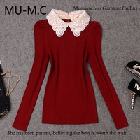 2013 The New Arrived Women's Small Lapel Long-Sleeved Knit Sweater Beaded Embroidery Bubble Winter Bottoming Shirt Wholesale