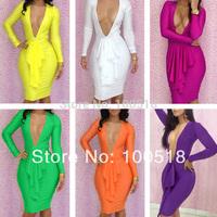 R7738 New Fashion 2015 Sexy evening dresses  6 color Deep V neck dress party evening elegant 2015 new bodycon dress