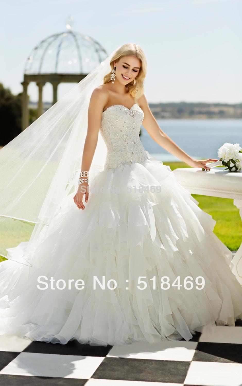 spedizione gratuita elegante 2014 di lusso regale fidanzata bianco avorio organza di tulle palla abiti da sposa abito con cristalli e perline